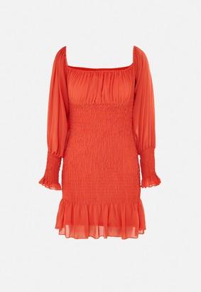 Missguided Orange Bardot Shirred Mini Dress