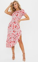 Pure Pink Floral Print Short Sleeve Frill Hem Midi Dress