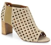 Aquatalia Shari Perforated Suede Open-Toe Booties