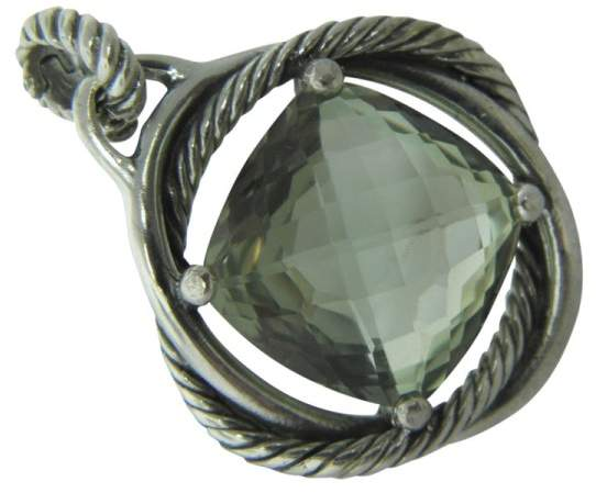 David Yurman 925 Sterling Silver & Prasiolite Infinity Enhancer Pendant