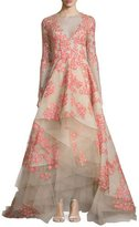 Monique Lhuillier Floral-Appliqué Long-Sleeve Illusion Gown, Apricot/Nude