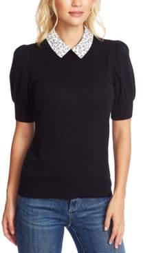 CeCe Collared Short-Sleeve Sweater