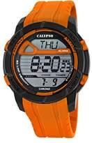 Calypso Men's Digital Watch with LCD Dial Digital Display and Orange Plastic Strap K5697/3