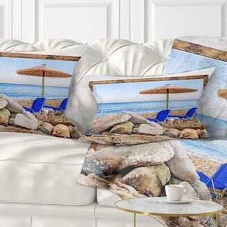 East Urban Home Seashore Photo Framed Effect Beach with Chairs Umbrella Lumbar Pillow East Urban Home
