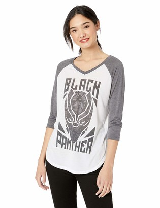 Marvel Multi/Color//Official Panther Stamp Junior's Fashion Raglan xx-Large