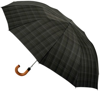 Fulton Dalston Check Umbrella, Charcoal