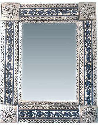 Fine Crafts & Imports Medium Silver Greca Tile Talavera Tin Mirror