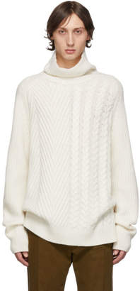 Haider Ackermann White Cable and Rib Knit Turtleneck