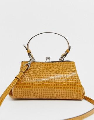 Asos Design DESIGN mini frame tote bag in croc