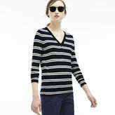 Lacoste Women's Wool Jersey Striped V-neck Sweater