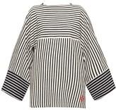 Loewe Striped Wide-sleeve Cotton-terry T-shirt - Womens - Navy Stripe