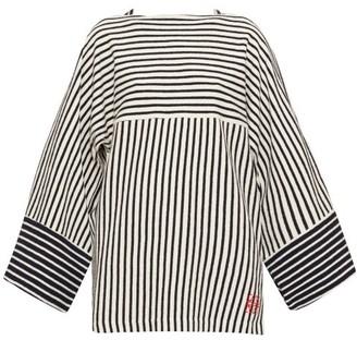 Loewe Striped Wide-sleeve Cotton-terry T-shirt - Navy Stripe
