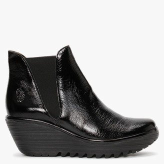 Fly London Woss Black Patent Leather Wedge Ankle Boots