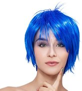 Kalyss Short Straight Women's Blue Flat Bangs Cosplay Party Heat Resistant Full Hair Wigs