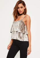 Missguided Grey Layered Pleated Velvet Cami Crop Top