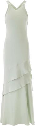 Max Mara ELVIRA LONG DRESS 40 Green Silk