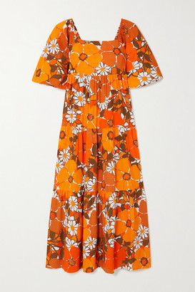 Faithfull The Brand + Net Sustain Kiona Tie-detailed Tiered Floral-print Voile Midi Dress - Orange