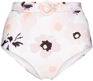 Peony Swimwear Floral Print High-Waist Bikini Bottoms