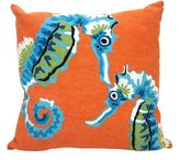 Liora Manné Visions III Seahorse 20-Inch x 20-Inch Throw Pillow in Blue/Orange