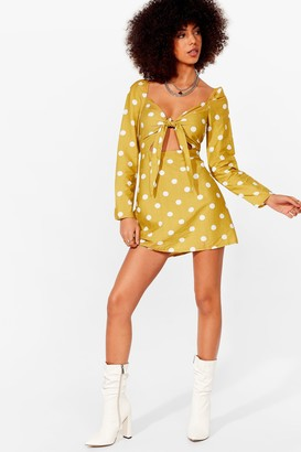 Nasty Gal Womens We're Dot Amused Cut-Out Mini Dress - Yellow - 8