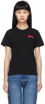Comme des Garcons Black and Red Double Hearts T-Shirt