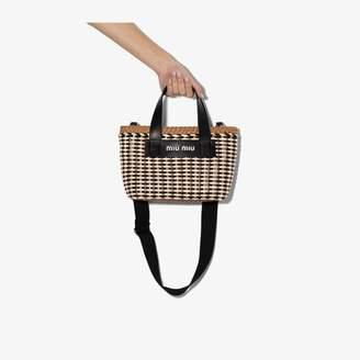 Miu Miu Womens Brown Multicoloured Eco Leather Wicker Tote Bag