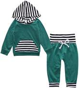 Kids Tales Newborn Baby Boy Girl Warm Striped Hoodie T-shirt Pants Outfit Set