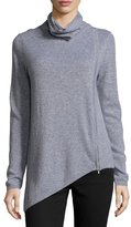 Neiman Marcus Cashmere Asymmetric Turtleneck Sweater, Gray