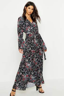 boohoo Floral Woven V Neck Flare Sleeve Maxi Dress