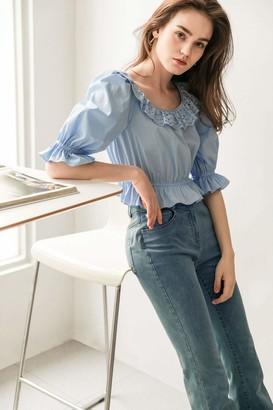 J.ING Ethel Blue Lace Collar Blouse