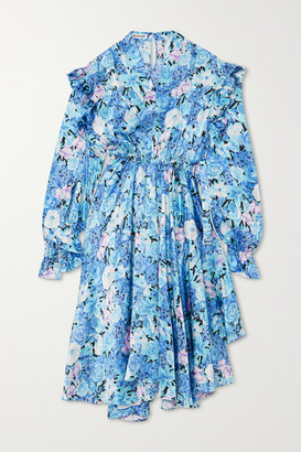 Balenciaga Asymmetric Ruffled Floral-print Silk-satin Dress