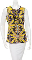 Tory Burch Ruffle-Paneled Printed Top