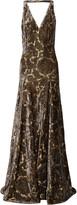 Etro Open-back metallic flocked jacquard gown