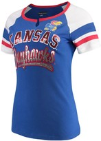 New Era Women's 5th & Ocean by Royal Kansas Jayhawks Baby Jersey Split Scoop Neck Ringer T-Shirt