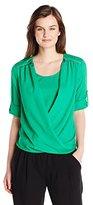 Calvin Klein Women's V-Neck Drape Roll-Sleeve Top