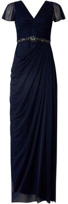 Adrianna Papell V Neck Waisted Gown