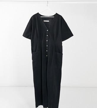 ASOS DESIGN Curve soft denim relaxed boilersuit in washed black