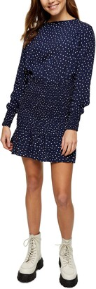 Topshop Spot Shirred Long Sleeve Minidress