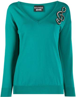 Moschino embellished music note jumper