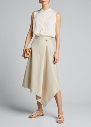 Vince Crushed Sleeveless Band-Collar Blouse