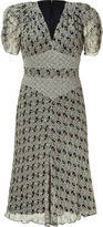 Anna Sui Black Printed Silk Dress