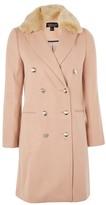 Topshop Nancy Faux Fur Collar Coat