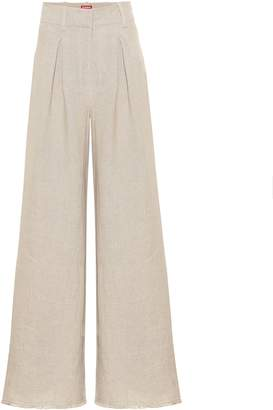 STAUD High-rise flared linen pants