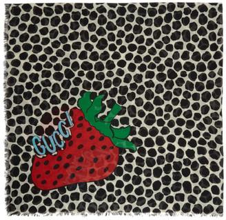 Gucci Black and White Strawberry Shawl