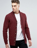 Asos Longline Shawl Neck Cable Cardigan in Wool Mix