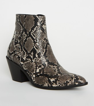 New Look Faux Snake Western Boots