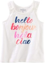 """Osh Kosh Toddler Girl Hello Bonjour Hola Ciao"""" Sequined Graphic Tank Top"""