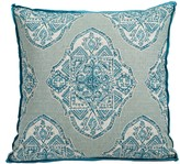 The Well Appointed House Malta Capri Blue and Green Pillow with Plasma Linen Flange