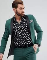 Asos Super Skinny Tuxedo Jacket In Midnight Green