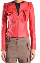 Pinko Women's Red Leather Outerwear Jacket.
